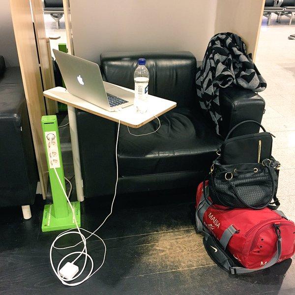 Etätyöpiste lentokentällä